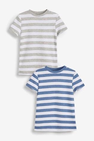 Blue 2 Pack Short Sleeved Stripe Thermal Tops (2-16yrs)