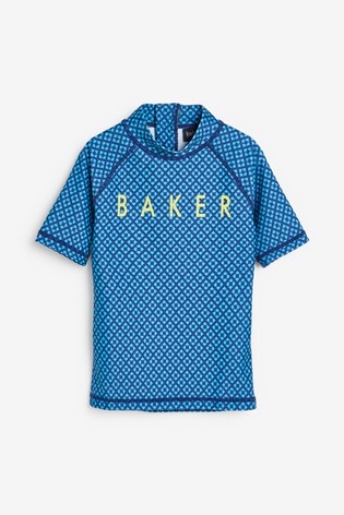 Baker by Ted Baker Boys Blue Geo Rash Vest