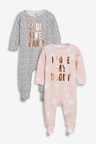 Monochrome/Pink 2 Pack Cool Like Mama And Daddy Sleepsuits (0mths-2yrs)
