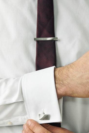 Silver Tone Diamanté Cufflinks And Tie Clip Set