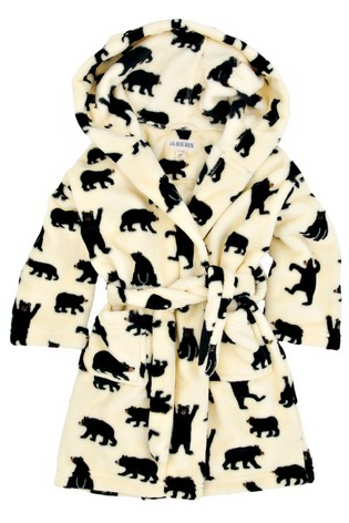 Hatley Black Bears On Natural Kids Fleece Robe
