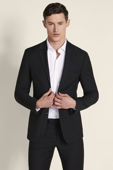 Moss London Skinny Fit Black Stretch Jacket