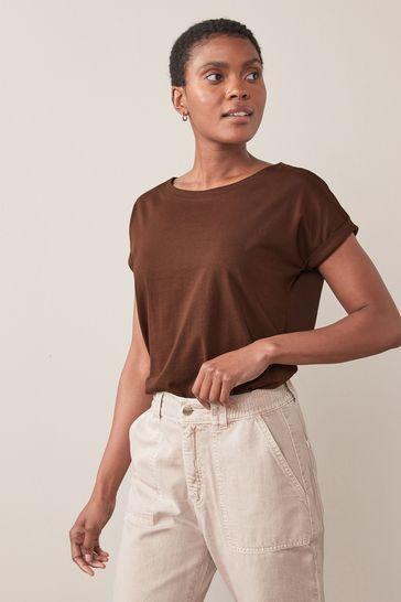 Chocolate Brown Cap Sleeve T-Shirt