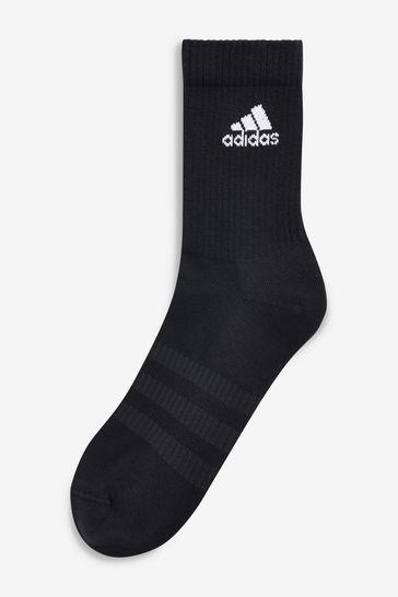 adidas Adult Black Crew Socks Six Pack