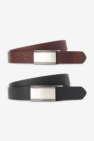 Black/Brown Reversible Plaque Leather Belt