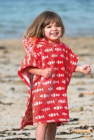 Frugi Organic Red Fish Little Havana Hooded Towel