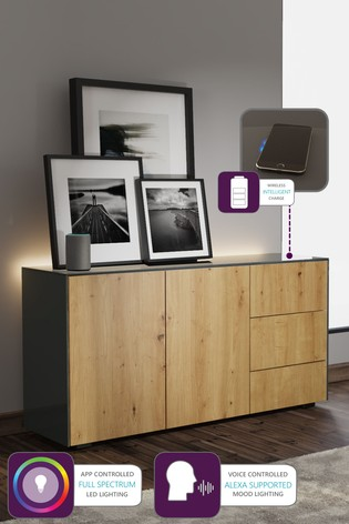 Frank Olsen Smart LED Grey and Oak Sideboard