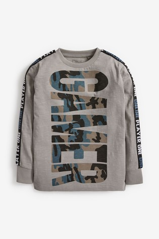 Grey Gamer Camo Graphic Taped T-Shirt (3-16yrs)