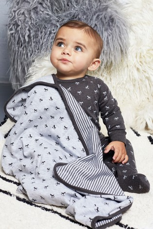 The Little Tailor Grey Rocking Horse Jersey Lined Blanket