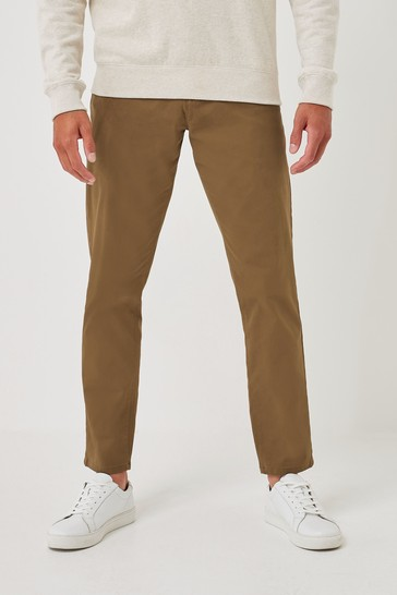 Tan Straight Fit Stretch Chino Trousers