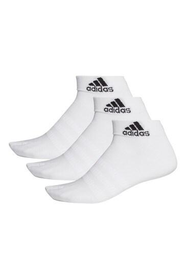 adidas Adult White Mid Cut Socks Three Pack