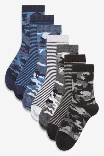Camo/Stripe 7 Pack Cotton Rich Socks (Older)