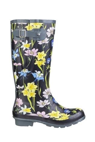 Cotswold Black Windsor Print Wellington Boots