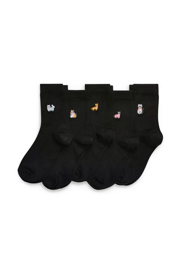 Cat Motif Ankle Socks Five Pack