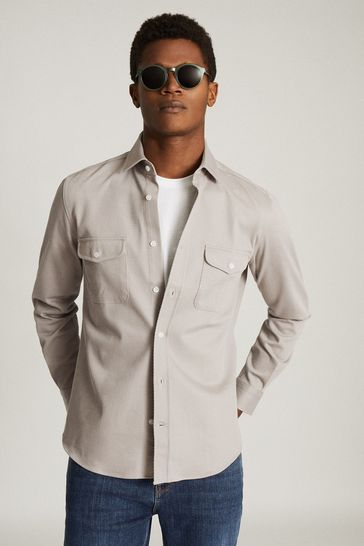 Reiss Grey Pricey Heavy Twill Twin Pocket Overshirt