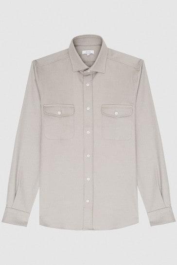 Reiss Grey Pricey Heavy Twill Twin Pocket Overshirt