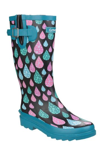 Cotswold Blue Burghley Waterproof Pull On Wellington Boots