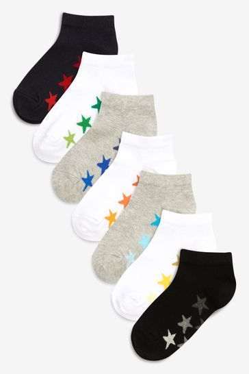 White/Grey 7 Pack Cotton Rich Trainer Socks