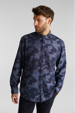Esprit Blue Long Sleeved Camouflage Mens Woven Shirt
