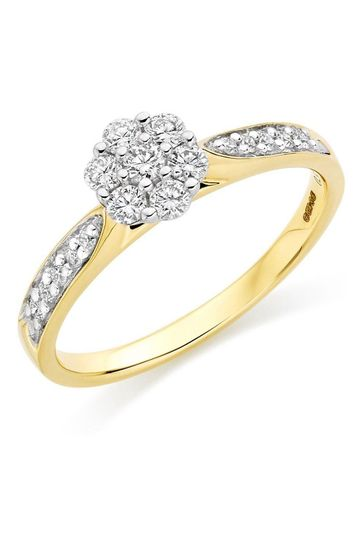 Beaverbrooks 18ct Diamond Cluster Ring