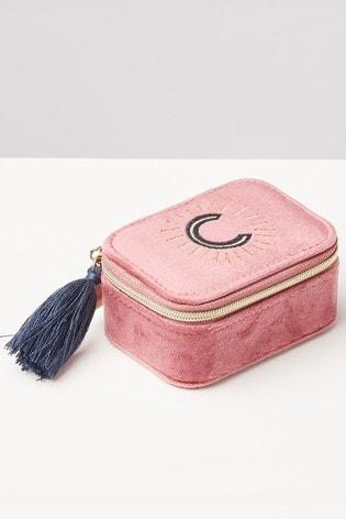 Oliver Bonas Sol Pink Velvet Alphabet C Travel Jewellery Box