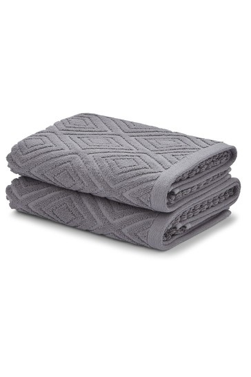Set of 2 Catherine Lansfield Charcoal Grey Diamond Sculptured Hand Towels