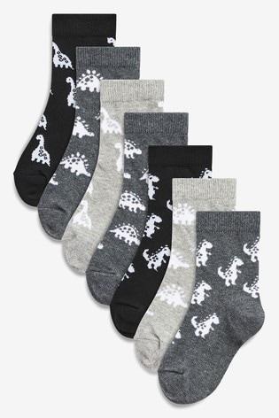 Monochrome 7 Pack Cotton Rich Dinosaur Socks (Younger)