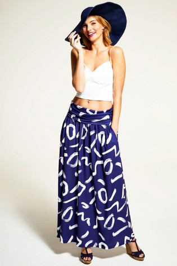 HotSquash Navy/White Roll Top Maxi Skirt