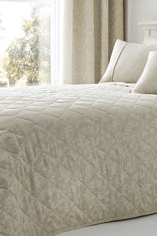 Ebony Floral Jacquard Bedspread by Serene