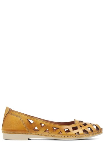 Pavers Yellow Ladies Cut Out Leather Ballerina Pumps