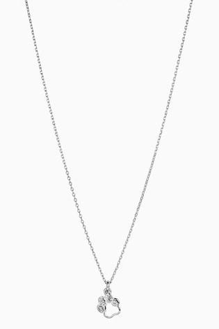 Silver Tone Sparkle Paw Pendant Necklace