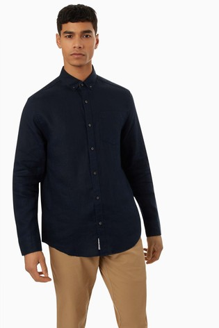 Original Penguin® Linen Long Sleeved Shirt With Chest Placement Pete The Penguin