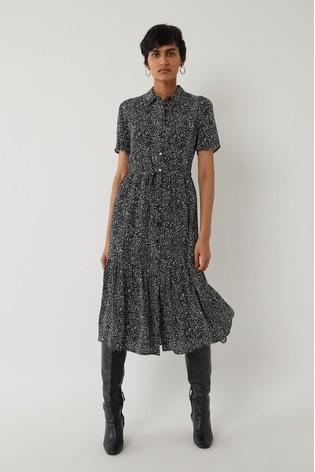 Warehouse Black Random Print Midi Shirt Dress