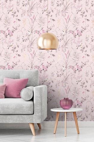 Crown Pink Mariko Floral Wallpaper