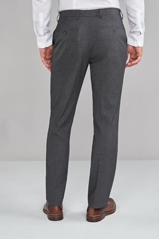 Charcoal Slim Fit Textured Trousers