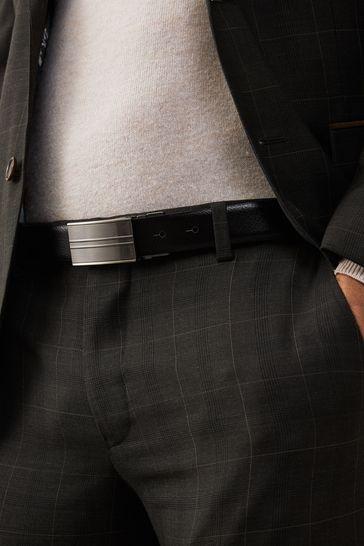 Black/Tan Signature Reversible Italian Leather Plaque Belt