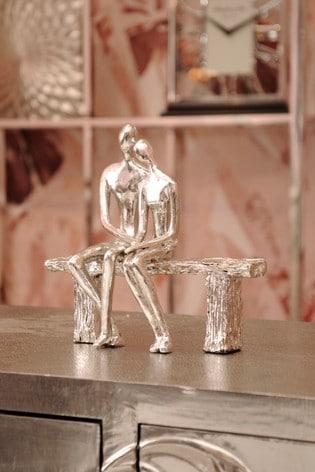 Libra Silver Bench Couple Sculpture