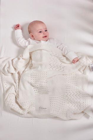 Personalised White Knit Blanket