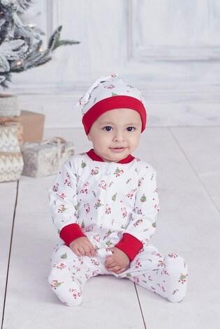 Kissy Kissy White Santa Print Babygrow