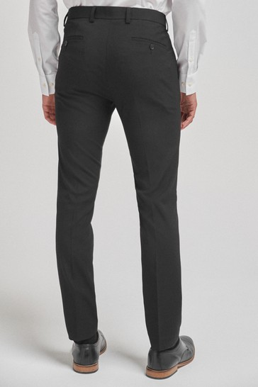 Black Super Skinny Fit Stretch Formal Trousers