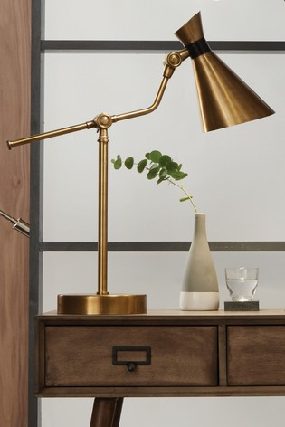 Wendell Antique Brass Metal Conical Table Lamp by Pacific
