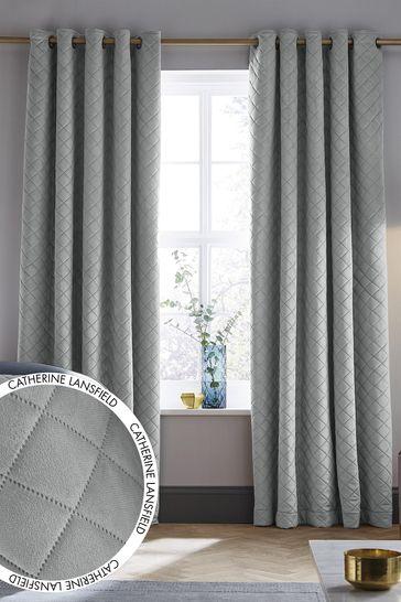 Catherine Lansfield Silver Velvet Curtains