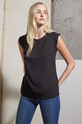 French Connection Black Polly Plains Capped Sleeve T-Shirt