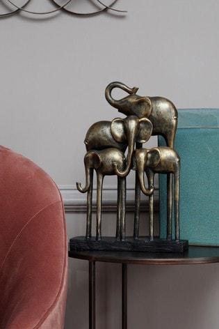 Libra Antique Group Of Elephants Sculpture