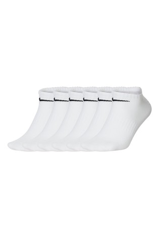 Nike White Lightweight Invisible Socks Six Pack