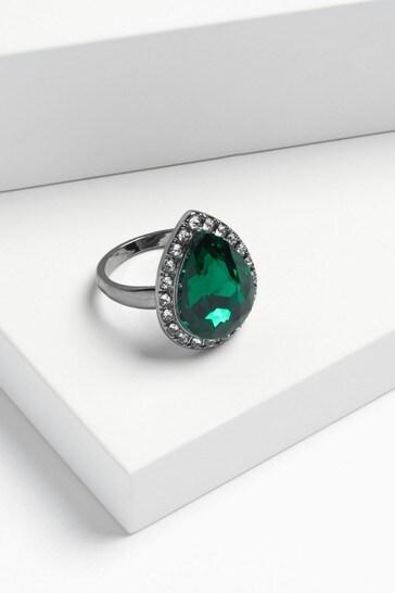 Green Pavé Jewel Cocktail Ring
