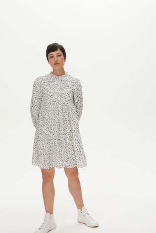 Oliver Bonas White Floral High Neck Short Dress