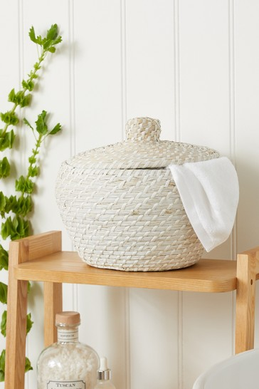 White Wash Woven Basket