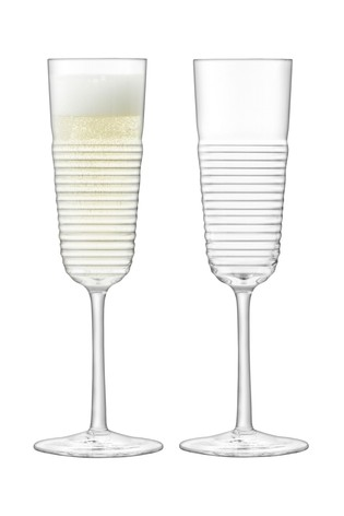 Set of 2 LSA International Groove Champagne Flutes