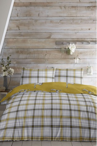 Fusion Hare & Check Reversible Duvet Cover and Pillowcase Set